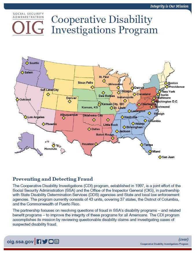 Cooperative Disability Investigations locations map